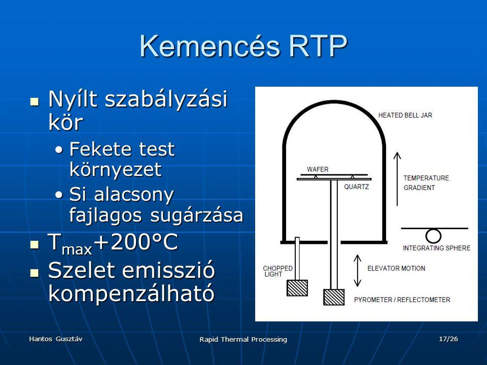 Hantos Gusztáv Rapid Thermal Processing 17/26 Kemencés RTP Nyílt szabályzási kör Nyílt szabályzási kör Fekete test környezetFekete test környezet Si alacsony fajlagos sugárzásaSi alacsony fajlagos sugárzása T max +200°C T max +200°C Szelet emisszió kompenzálható Szelet emisszió kompenzálható