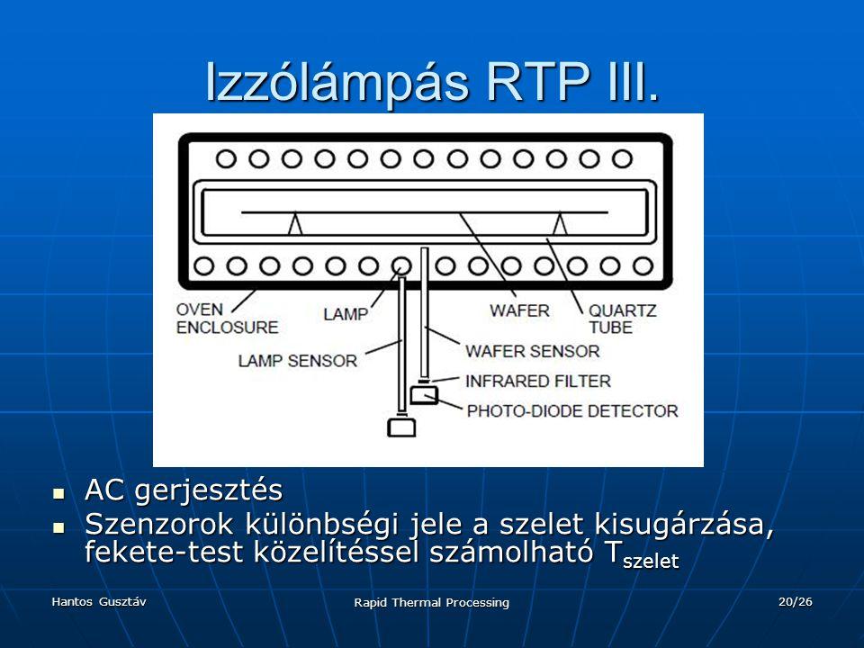 Hantos Gusztáv Rapid Thermal Processing 20/26 Izzólámpás RTP III.
