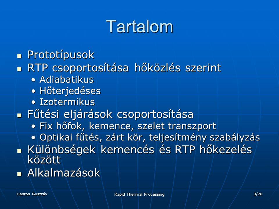 Hantos Gusztáv Rapid Thermal Processing 24/26 RTP vs.