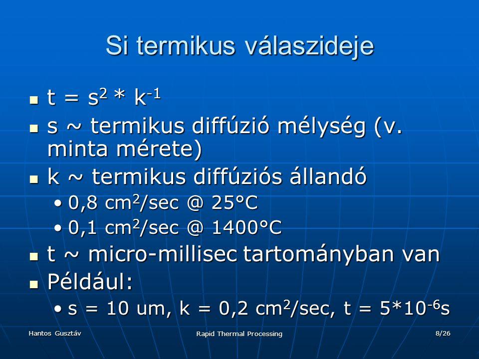 Hantos Gusztáv Rapid Thermal Processing 9/26 RTP időtartama A hőkezelés időtartama és a Si termikus válaszának viszonya szerint lehet az eljárás: A hőkezelés időtartama és a Si termikus válaszának viszonya szerint lehet az eljárás: AdiabatikusAdiabatikus HőterjedésesHőterjedéses IzotermikusIzotermikus