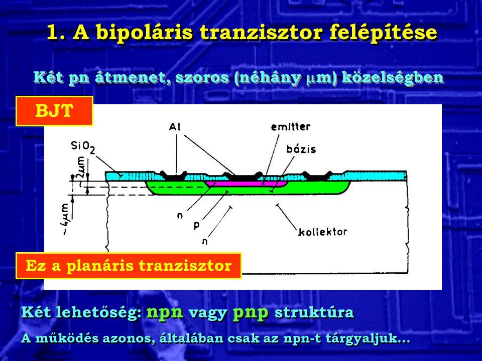 1. A bipoláris tranzisztor felépítése Két pn átmenet, szoros (néhány  m) közelségben Két lehetőség: npn vagy pnp struktúra A működés azonos, általába