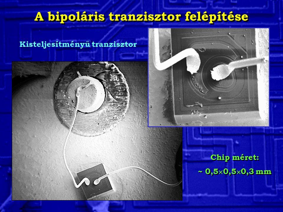 Kisteljesítményű tranzisztor Chip méret: ~ 0,5  0,5  0,3 mm Chip méret: ~ 0,5  0,5  0,3 mm