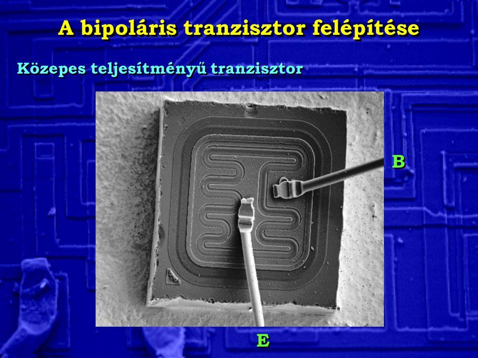 A bipoláris tranzisztor felépítése Közepes teljesítményű tranzisztor B B E E