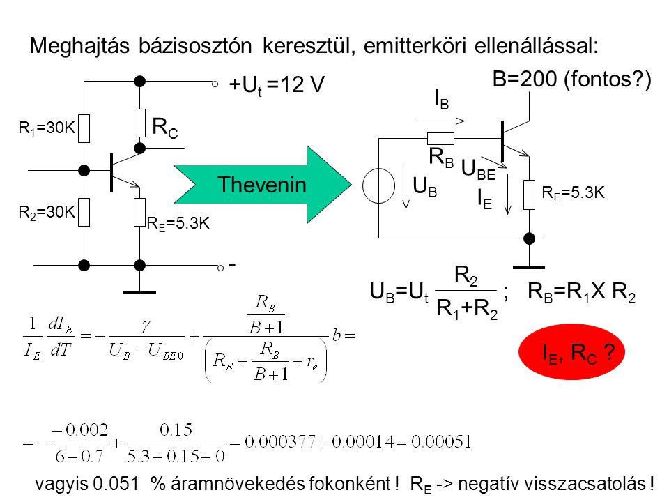 Meghajtás bázisosztón keresztül, emitterköri ellenállással: +U t =12 V - R 1 =30K R 2 =30K R E =5.3K RCRC Thevenin U B =U t R2R2 R 1 +R 2 ; R B =R 1 X