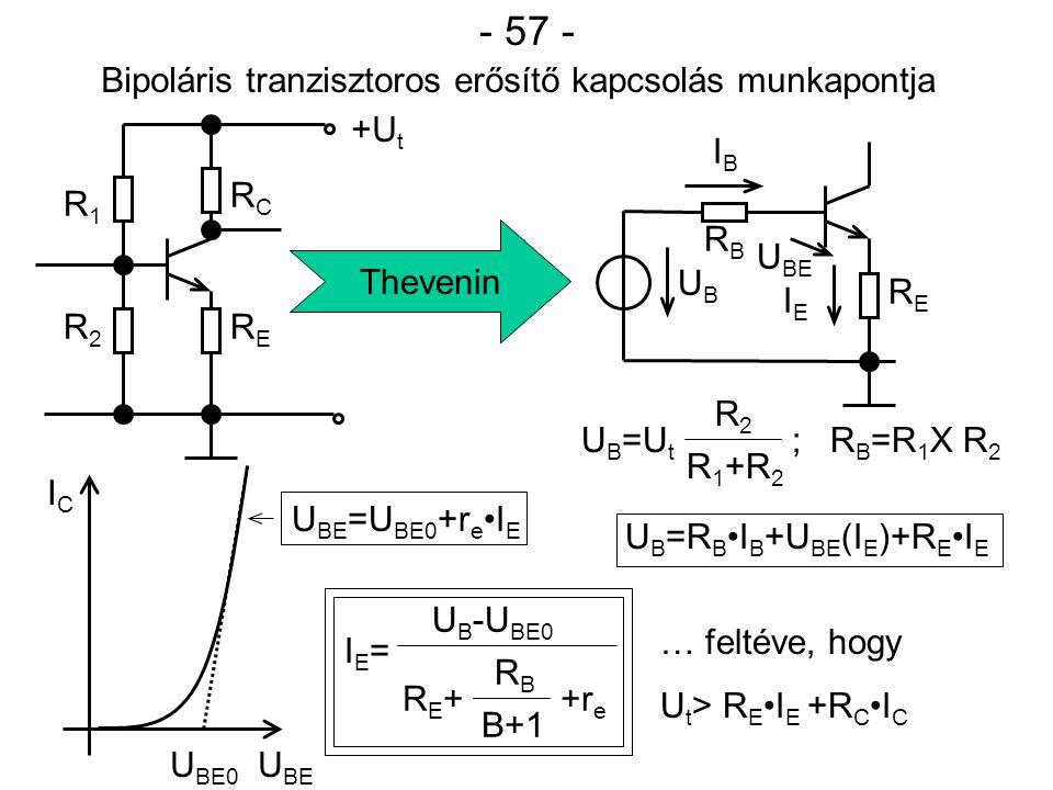 - 58 - I E =f(B; U BE ; U t ; T) többváltozós függvény.