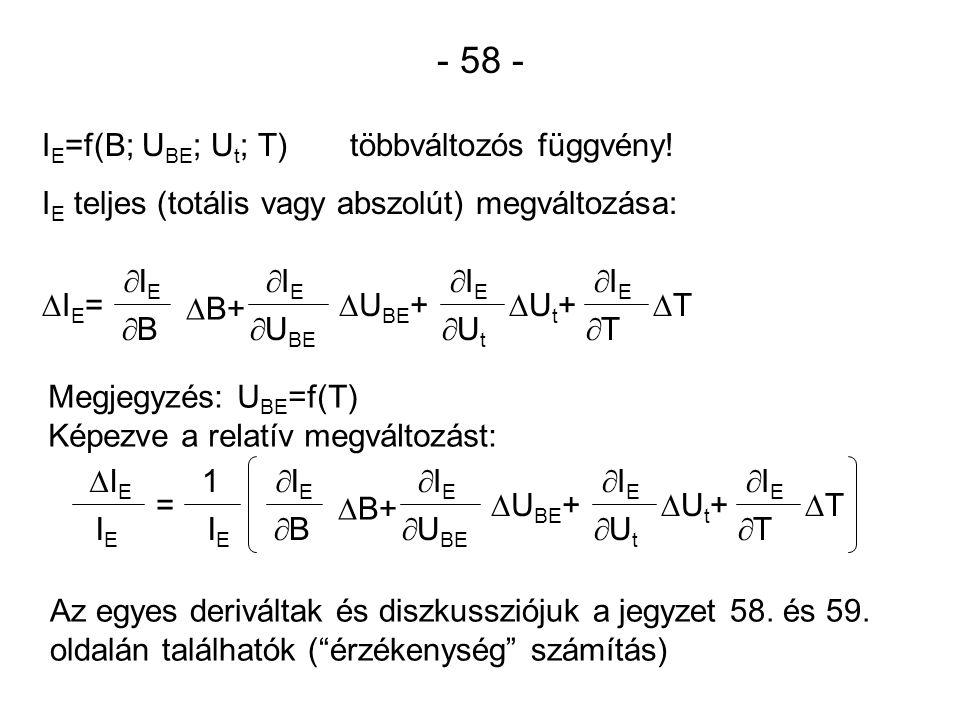 - 58 - I E =f(B; U BE ; U t ; T) többváltozós függvény! I E teljes (totális vagy abszolút) megváltozása: IE=IE= IEIE BB  B+ IEIE  U BE  U B