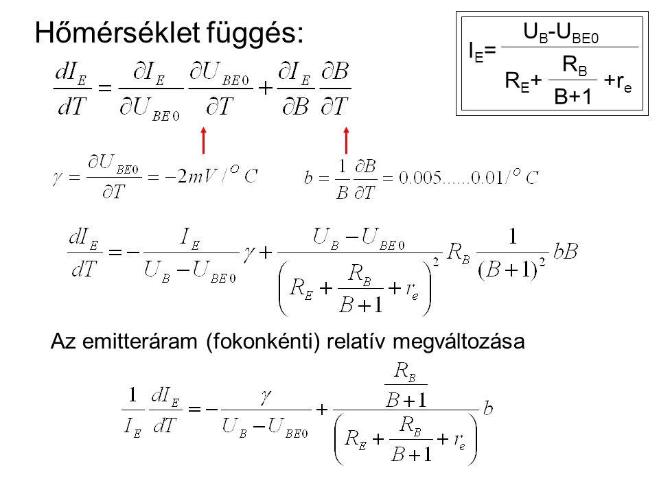 Hőmérséklet függés: IE=IE= U B -U BE0 RE+RE+ RBRB B+1 +r e Az emitteráram (fokonkénti) relatív megváltozása