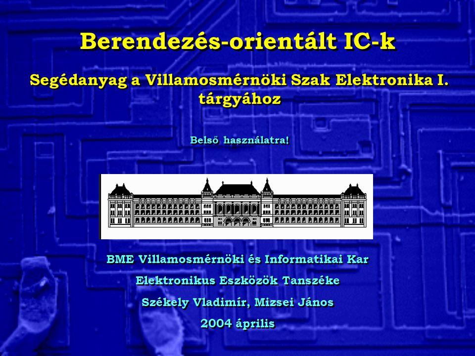 Berendezés-orientált IC-k BME Villamosmérnöki és Informatikai Kar Elektronikus Eszközök Tanszéke Székely Vladimír, Mizsei János 2004 április BME Villamosmérnöki és Informatikai Kar Elektronikus Eszközök Tanszéke Székely Vladimír, Mizsei János 2004 április Segédanyag a Villamosmérnöki Szak Elektronika I.