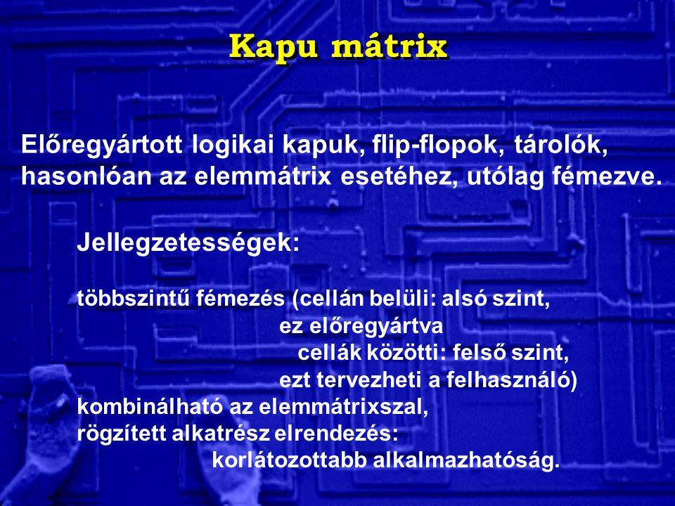 Kapu mátrix Előregyártott logikai kapuk, flip-flopok, tárolók, hasonlóan az elemmátrix esetéhez, utólag fémezve.