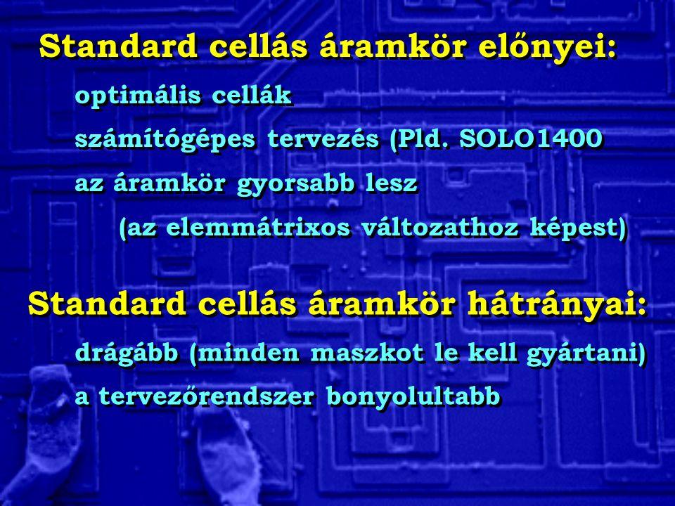 Standard cellás áramkör előnyei: optimális cellák számítógépes tervezés (Pld.