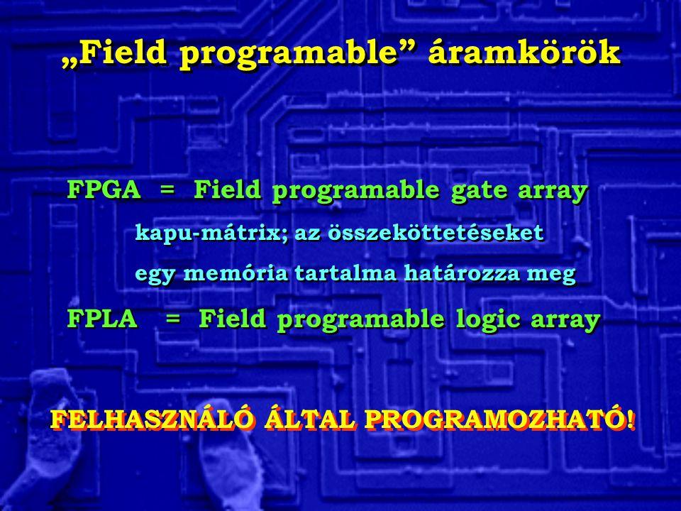 """""""Field programable áramkörök FPGA = Field programable gate array kapu-mátrix; az összeköttetéseket egy memória tartalma határozza meg FPLA = Field programable logic array FPGA = Field programable gate array kapu-mátrix; az összeköttetéseket egy memória tartalma határozza meg FPLA = Field programable logic array FELHASZNÁLÓ ÁLTAL PROGRAMOZHATÓ!"""
