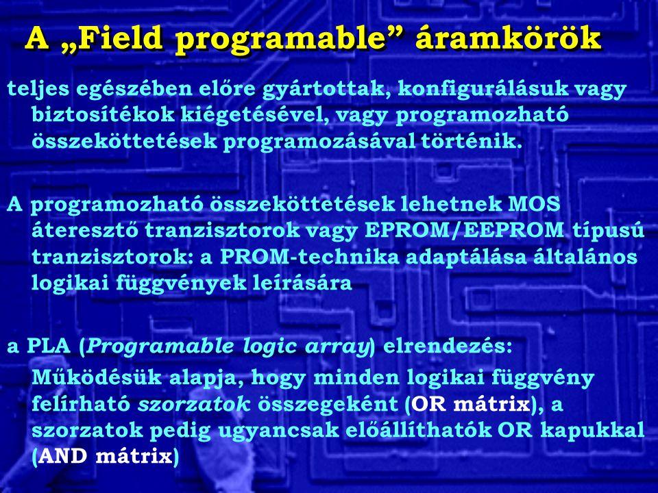 teljes egészében előre gyártottak, konfigurálásuk vagy biztosítékok kiégetésével, vagy programozható összeköttetések programozásával történik.