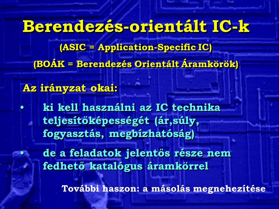 Berendezés-orientált IC-k (ASIC = Application-Specific IC) (BOÁK = Berendezés Orientált Áramkörök) Berendezés-orientált IC-k (ASIC = Application-Specific IC) (BOÁK = Berendezés Orientált Áramkörök) Az irányzat okai: ki kell használni az IC technika teljesítőképességét (ár,súly, fogyasztás, megbízhatóság) de a feladatok jelentős része nem fedhető katalógus áramkörrel Az irányzat okai: ki kell használni az IC technika teljesítőképességét (ár,súly, fogyasztás, megbízhatóság) de a feladatok jelentős része nem fedhető katalógus áramkörrel További haszon: a másolás megnehezítése