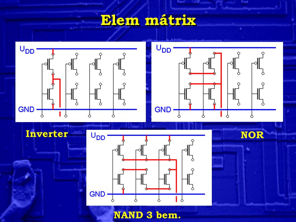 Elem mátrix Inverter NOR NAND 3 bem.
