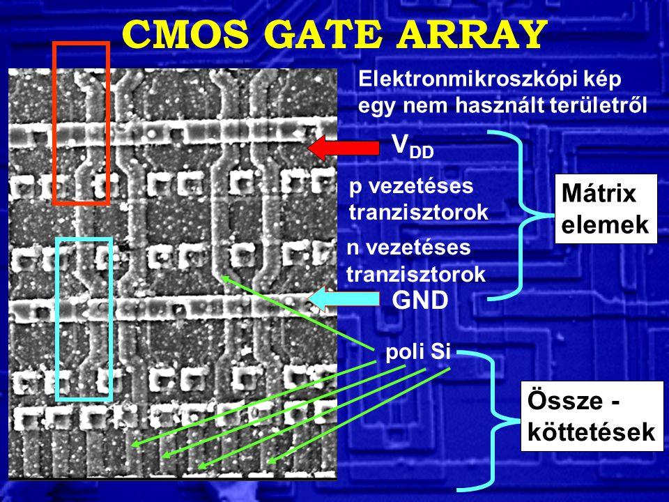V DD GND p vezetéses tranzisztorok n vezetéses tranzisztorok poli Si CMOS GATE ARRAY Elektronmikroszkópi kép egy nem használt területről Mátrix elemek Össze - köttetések