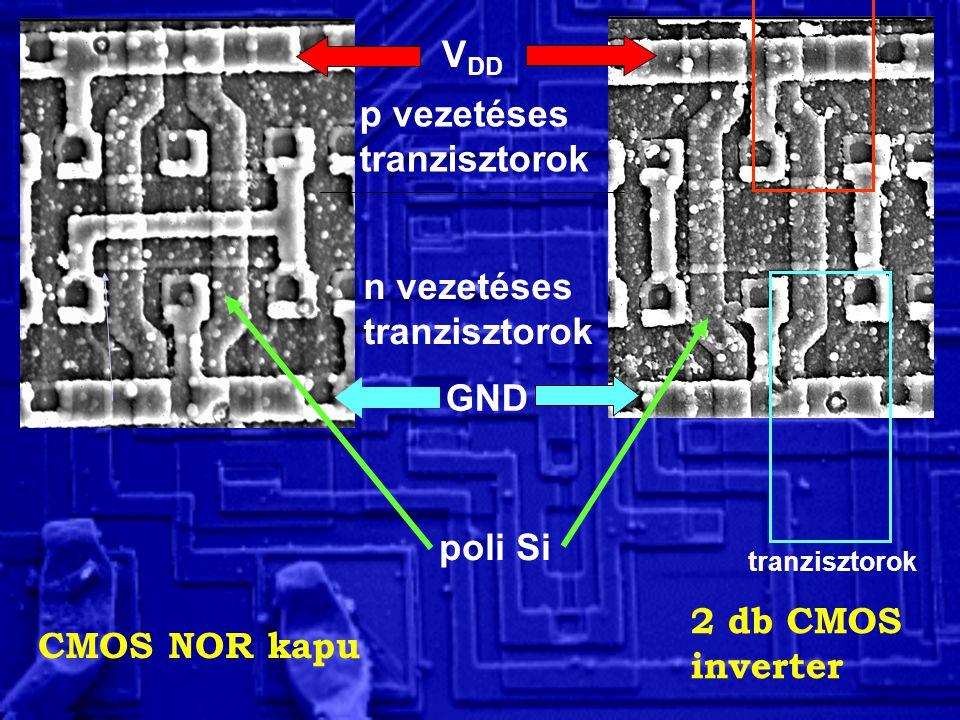 V DD GND p vezetéses tranzisztorok n vezetéses tranzisztorok poli Si tranzisztorok CMOS NOR kapu 2 db CMOS inverter