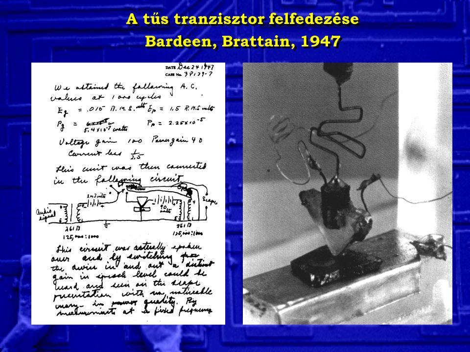 A tűs tranzisztor felfedezése Bardeen, Brattain, 1947 A tűs tranzisztor felfedezése Bardeen, Brattain, 1947