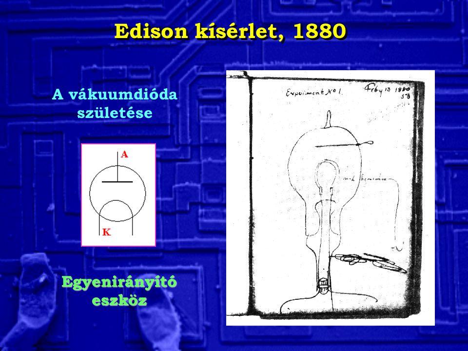Edison kísérlet, 1880 A vákuumdióda születése Egyenirányító eszköz