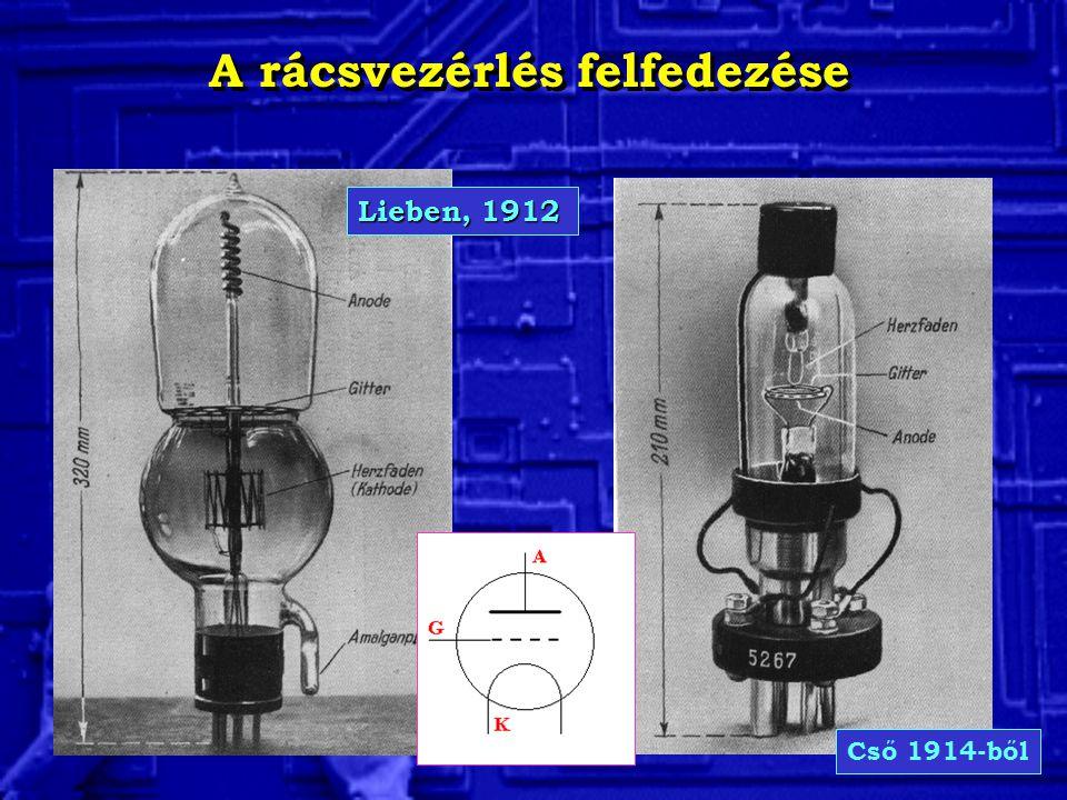 A rácsvezérlés felfedezése Lieben, 1912 Cső 1914-ből