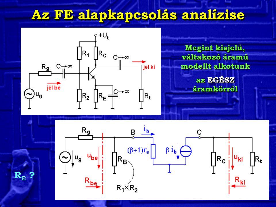 Az FE alapkapcsolás analízise Megint kisjelű, váltakozó áramú modellt alkotunk az EGÉSZ áramkörről Megint kisjelű, váltakozó áramú modellt alkotunk az