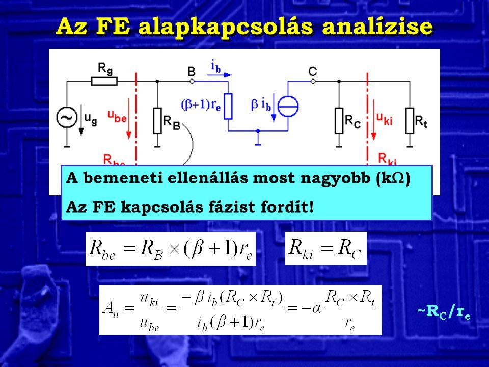 Az FE alapkapcsolás analízise A bemeneti ellenállás most nagyobb (k  ) Az FE kapcsolás fázist fordít! ~R C /r e