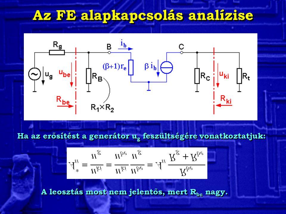 Az FE alapkapcsolás analízise Ha az erősítést a generátor u g feszültségére vonatkoztatjuk: A leosztás most nem jelentős, mert R be nagy.