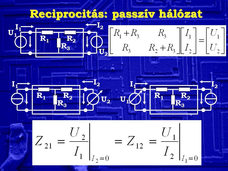Reciprocitás: passzív hálózat U2U2 I2I2 I1I1 R3R3 R1R1 R2R2 U1U1 I1I1 U2U2 R3R3 R1R1 R2R2 I2I2 I2I2 U1U1 R3R3 R1R1 R2R2 I1I1