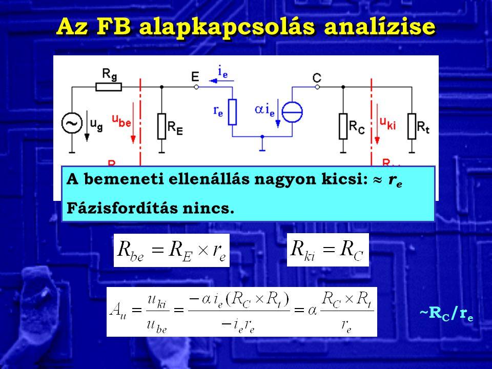 Az FB alapkapcsolás analízise A bemeneti ellenállás nagyon kicsi:  r e Fázisfordítás nincs. ~R C /r e