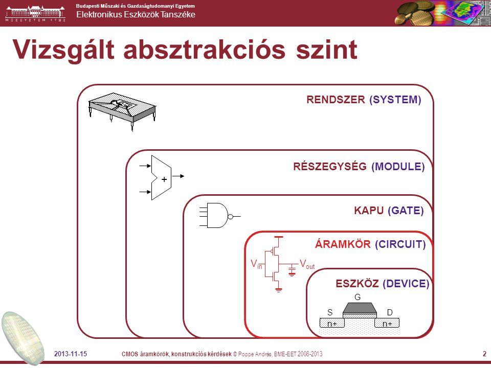 Budapesti Műszaki és Gazdaságtudomanyi Egyetem Elektronikus Eszközök Tanszéke 2013-11-15 CMOS áramkörök, konstrukciós kérdések © Poppe András, BME-EET 2008-2013 2 Vizsgált absztrakciós szint RENDSZER (SYSTEM) RÉSZEGYSÉG (MODULE) + KAPU (GATE) ÁRAMKÖR (CIRCUIT) n+ SD G ESZKÖZ (DEVICE) V out V in