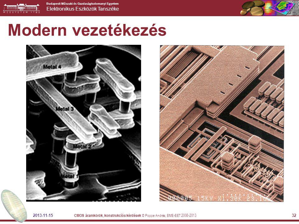 Budapesti Műszaki és Gazdaságtudomanyi Egyetem Elektronikus Eszközök Tanszéke 2013-11-15 CMOS áramkörök, konstrukciós kérdések © Poppe András, BME-EET 2008-2013 32 Modern vezetékezés