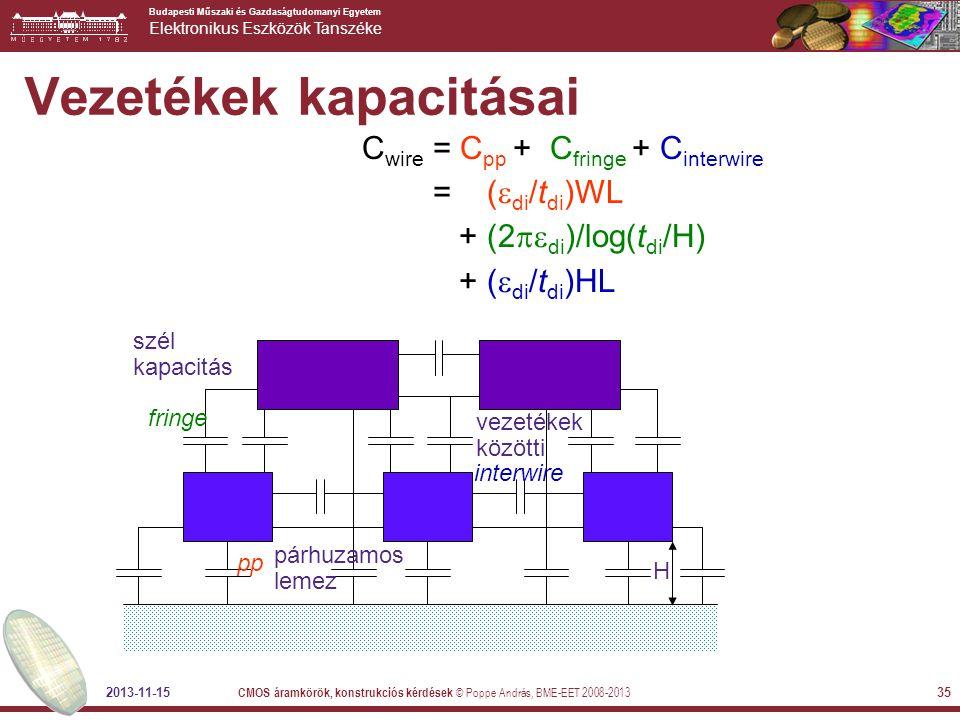 Budapesti Műszaki és Gazdaságtudomanyi Egyetem Elektronikus Eszközök Tanszéke 2013-11-15 CMOS áramkörök, konstrukciós kérdések © Poppe András, BME-EET 2008-2013 35 Vezetékek kapacitásai interwire fringe pp C wire = C pp + C fringe + C interwire = (  di /t di )WL + (2  di )/log(t di /H) + (  di /t di )HL párhuzamos lemez szél kapacitás vezetékek közötti H