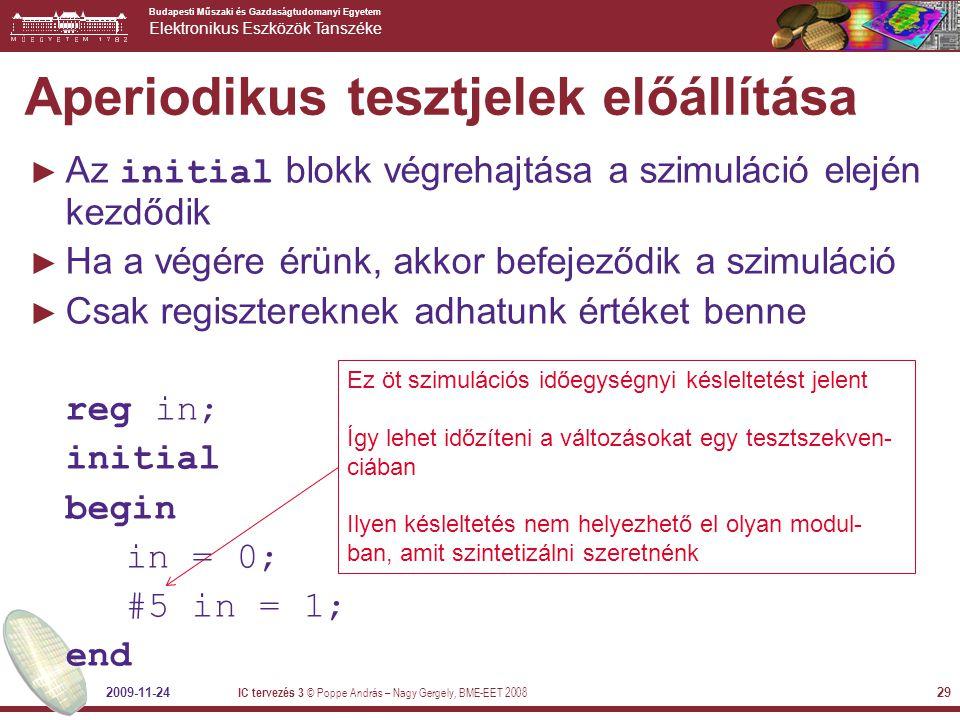 Budapesti Műszaki és Gazdaságtudomanyi Egyetem Elektronikus Eszközök Tanszéke 2009-11-24 IC tervezés 3 © Poppe András – Nagy Gergely, BME-EET 2008 29