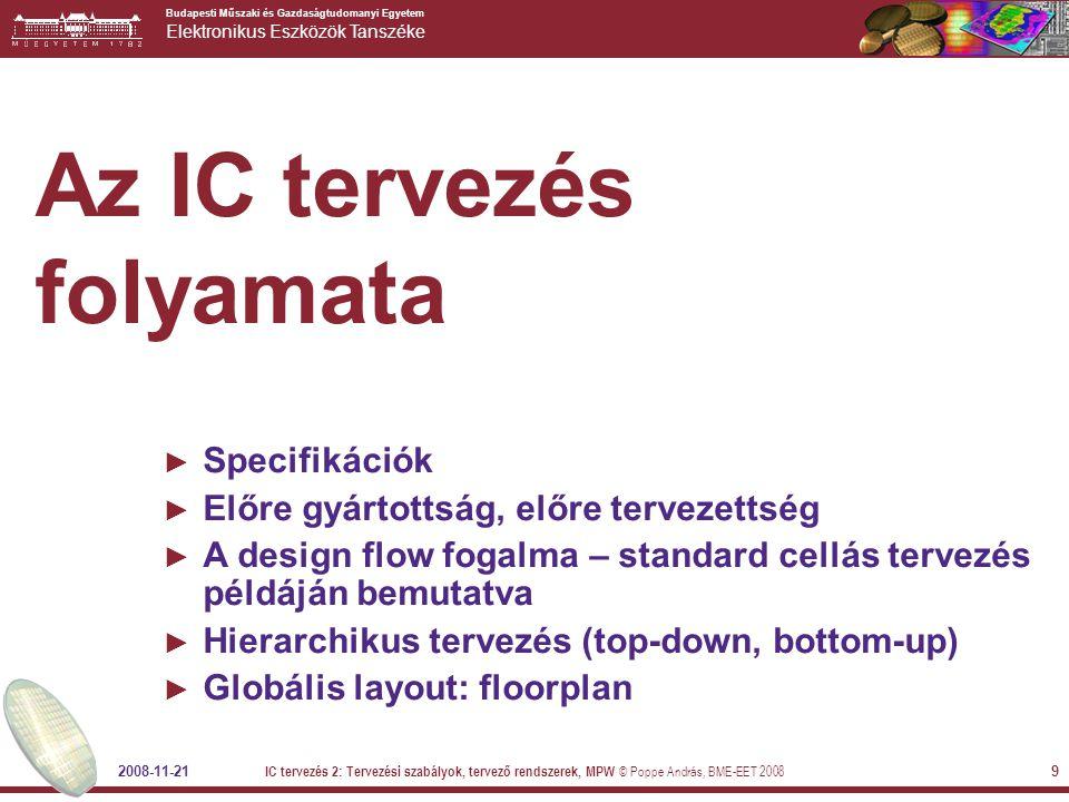 Budapesti Műszaki és Gazdaságtudomanyi Egyetem Elektronikus Eszközök Tanszéke 2008-11-21 IC tervezés 2: Tervezési szabályok, tervező rendszerek, MPW © Poppe András, BME-EET 2008 10 Specifikáció – a tervezés első része ► Műszaki specifikáció (globálisan)  Mi az a funkció, amit elektronikusan meg szeretnénk oldani.