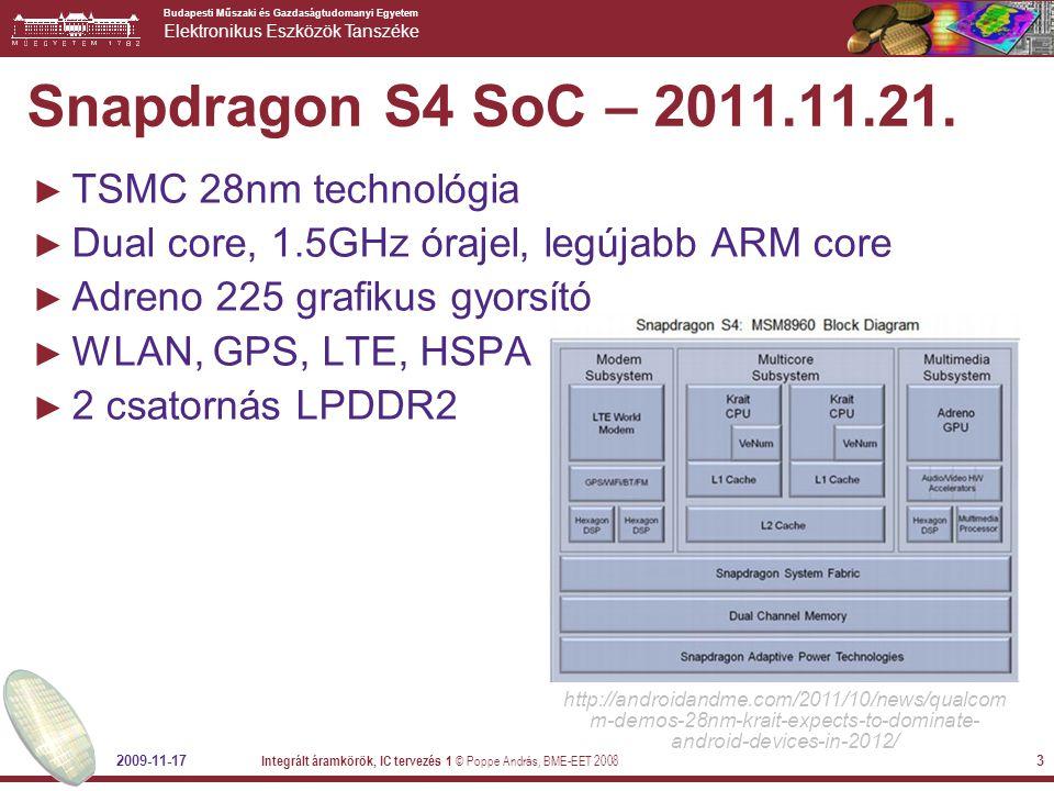 Budapesti Műszaki és Gazdaságtudomanyi Egyetem Elektronikus Eszközök Tanszéke Snapdragon S4 SoC – 2011.11.21.