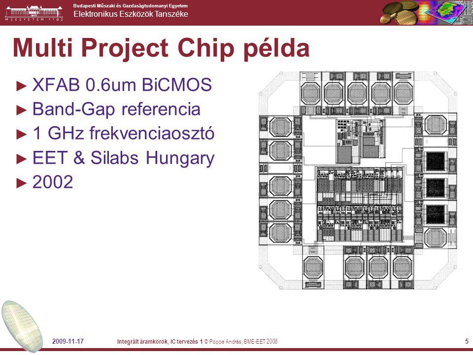 Budapesti Műszaki és Gazdaságtudomanyi Egyetem Elektronikus Eszközök Tanszéke Multi Project Chip példa 2009-11-17 Integrált áramkörök, IC tervezés 1 ©