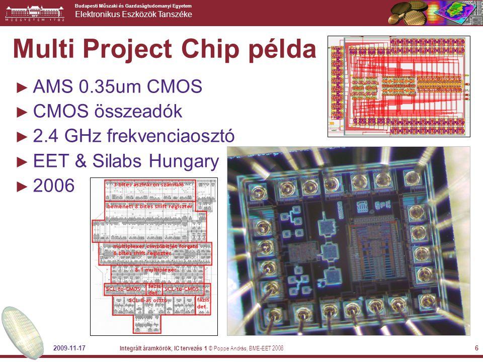 Budapesti Műszaki és Gazdaságtudomanyi Egyetem Elektronikus Eszközök Tanszéke Multi Project Chip példa ► AMS 0.35um CMOS ► CMOS összeadók ► 2.4 GHz fr