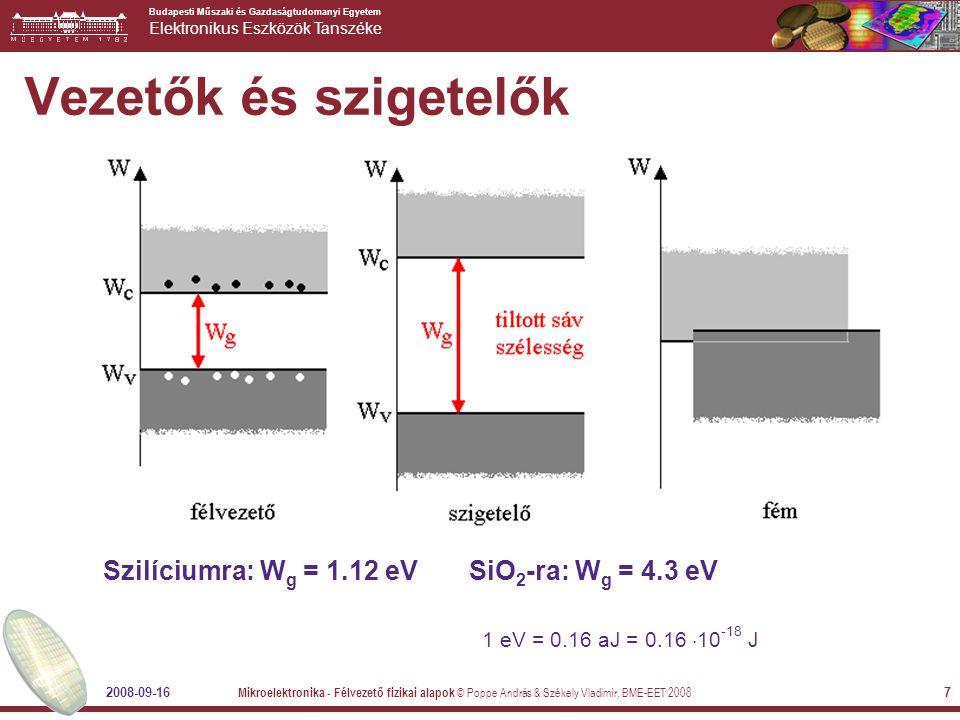 Budapesti Műszaki és Gazdaságtudomanyi Egyetem Elektronikus Eszközök Tanszéke 2008-09-16 Mikroelektronika - Félvezető fizikai alapok © Poppe András & Székely Vladimír, BME-EET 2008 7 Vezetők és szigetelők Szilíciumra: W g = 1.12 eV SiO 2 -ra: W g = 4.3 eV 1 eV = 0.16 aJ = 0.16  10 -18 J
