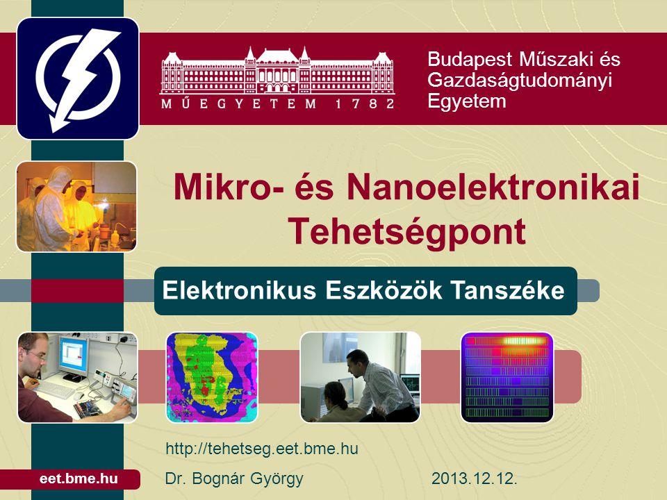 Budapest Műszaki és Gazdaságtudományi Egyetem Elektronikus Eszközök Tanszéke eet.bme.hu Mikro- és Nanoelektronikai Tehetségpont Dr.