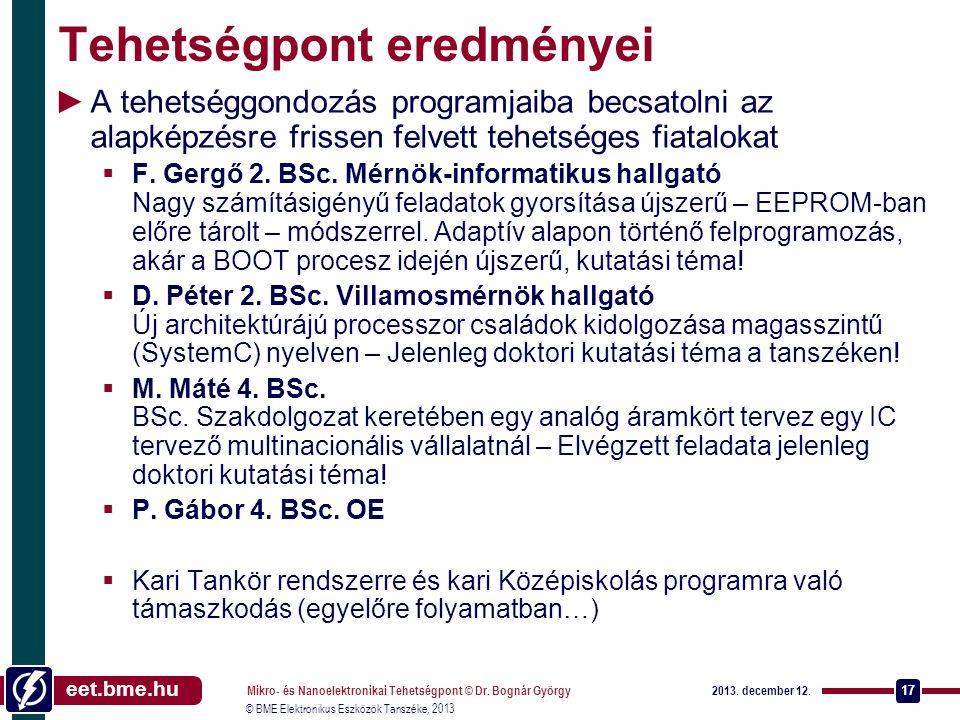 eet.bme.hu © BME Elektronikus Eszközök Tanszéke, 2013 Tehetségpont eredményei ►A tehetséggondozás programjaiba becsatolni az alapképzésre frissen felvett tehetséges fiatalokat  F.