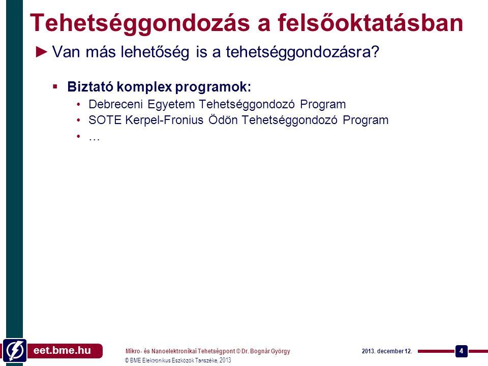 eet.bme.hu © BME Elektronikus Eszközök Tanszéke, 2013 Tehetséggondozás a felsőoktatásban ►Van más lehetőség is a tehetséggondozásra.