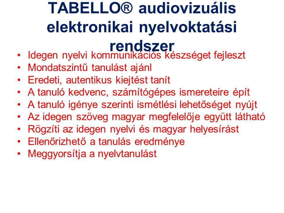TABELLO® audiovizuális elektronikai nyelvoktatási rendszer Idegen nyelvi kommunikációs készséget fejleszt Mondatszintű tanulást ajánl Eredeti, autenti