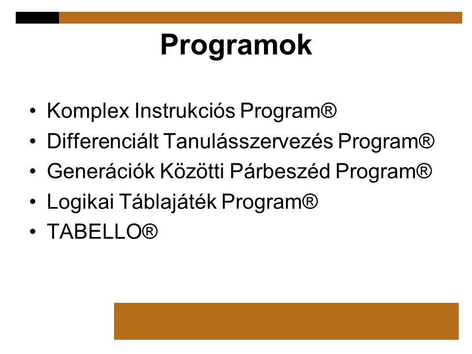 Programok Komplex Instrukciós Program® Differenciált Tanulásszervezés Program® Generációk Közötti Párbeszéd Program® Logikai Táblajáték Program® TABEL