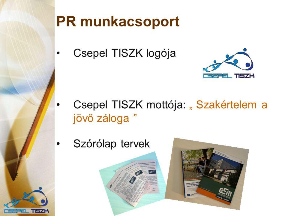 """PR munkacsoport Csepel TISZK logója Csepel TISZK mottója: """" Szakértelem a jövő záloga """" Szórólap tervek"""