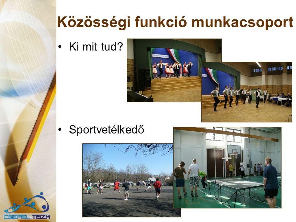 Közösségi funkció munkacsoport Ki mit tud? Sportvetélkedő
