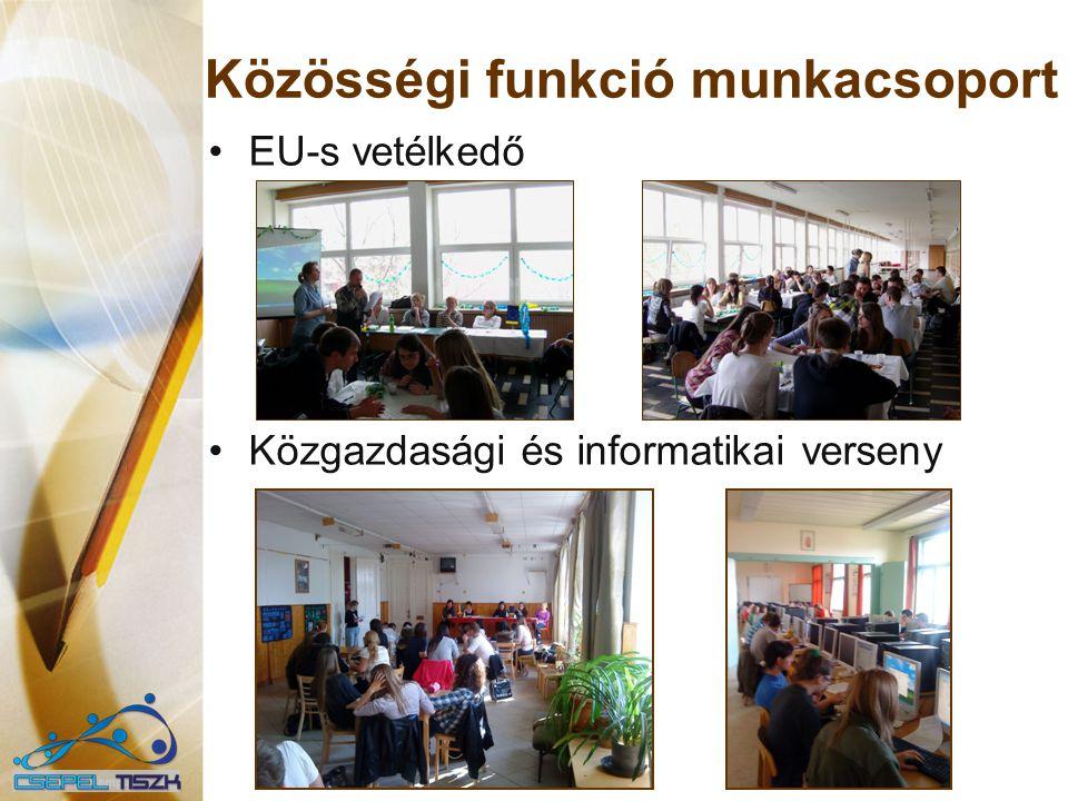 Közösségi funkció munkacsoport EU-s vetélkedő Közgazdasági és informatikai verseny