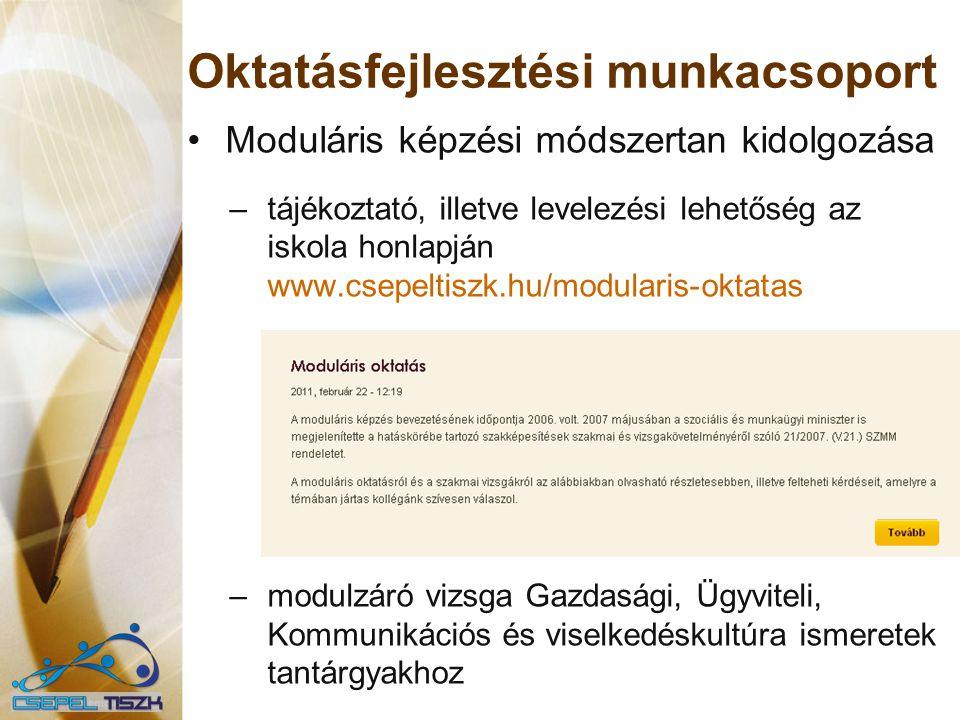 Oktatásfejlesztési munkacsoport Moduláris képzési módszertan kidolgozása –tájékoztató, illetve levelezési lehetőség az iskola honlapján www.csepeltisz