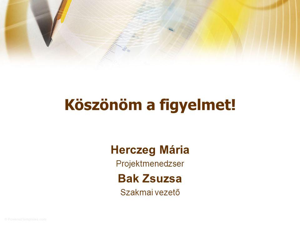Köszönöm a figyelmet! Herczeg Mária Projektmenedzser Bak Zsuzsa Szakmai vezető