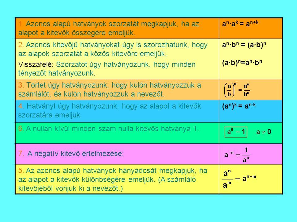 1. Azonos alapú hatványok szorzatát megkapjuk, ha az alapot a kitevők összegére emeljük. a n ·a k = a n+k 2. Azonos kitevőjű hatványokat úgy is szoroz