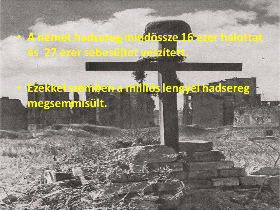 A német hadsereg mindössze 16 ezer halottat és 27 ezer sebesültet veszített.