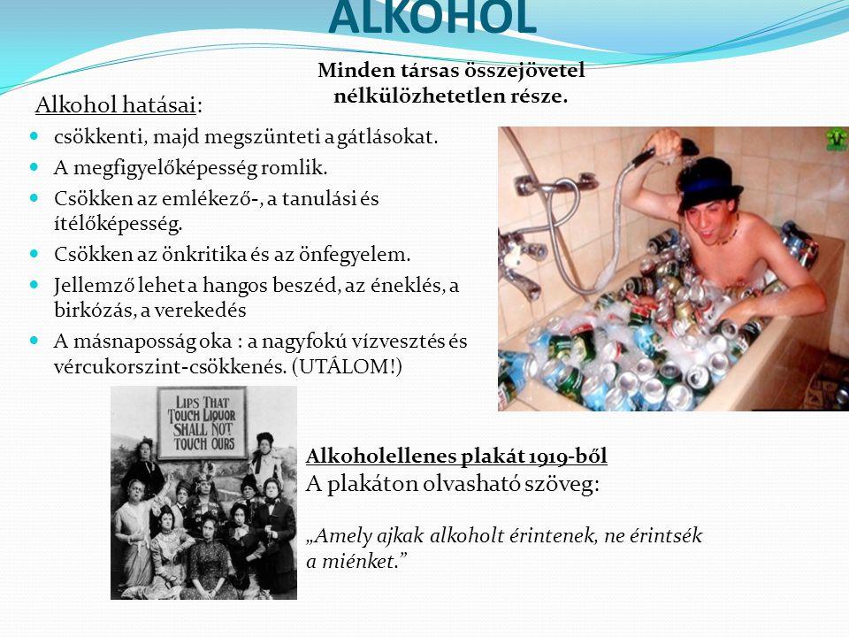 ALKOHOL Alkohol hatásai: csökkenti, majd megszünteti a gátlásokat. A megfigyelőképesség romlik. Csökken az emlékező-, a tanulási és ítélőképesség. Csö